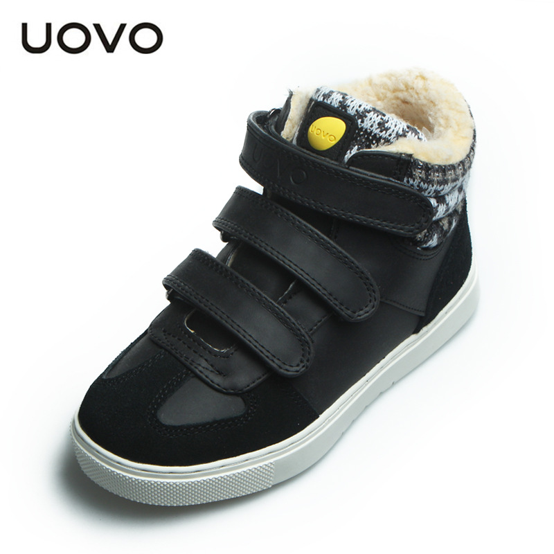 Uovo Winter Kids Sneakers Size 30-39 Teenage School Sports Shoes Running Walking Zapatos Skate Shoes Black Brown Purple Flats