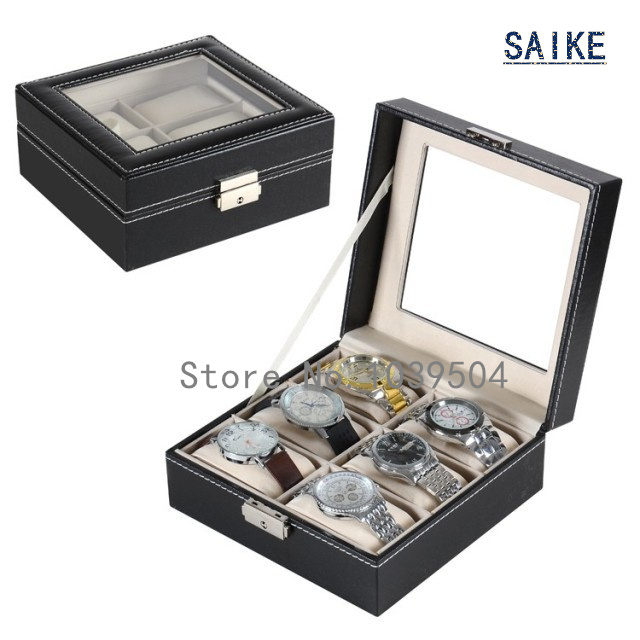 Square 6 Slots Watch Storage Boxes Case Black Leather Watches - Accesorios para relojes