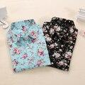 2016 Blusas de Las Mujeres Gira el Collar Abajo Blusa Floral Camisa de Las Mujeres Camisas de Manga Larga Moda Femininas Mujeres Tops Y Blusas
