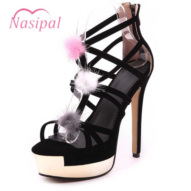 94a48b1cc7a1 Nasipal Fashion Sex Sandals Platform Party Shoes Ladies Stiletto 13.5CM  extreme High Heels Sandals Woman Zapatos Mujer M94