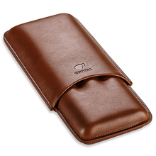 COHIBA Gadgets Brown Leather Cigar Case Holder 3 Tube Travel Humidor gift box CF-0402