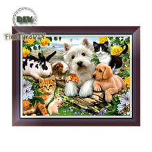 FineTime Animals Family Dogs Cats 5D DIY Diamond Painting Partial Round Drill Diamond Embroidery Cross Stitch Mosaic Painting finetime animals owls dogs cats 5d diy diamond painting partial round drill diamond embroidery cross stitch