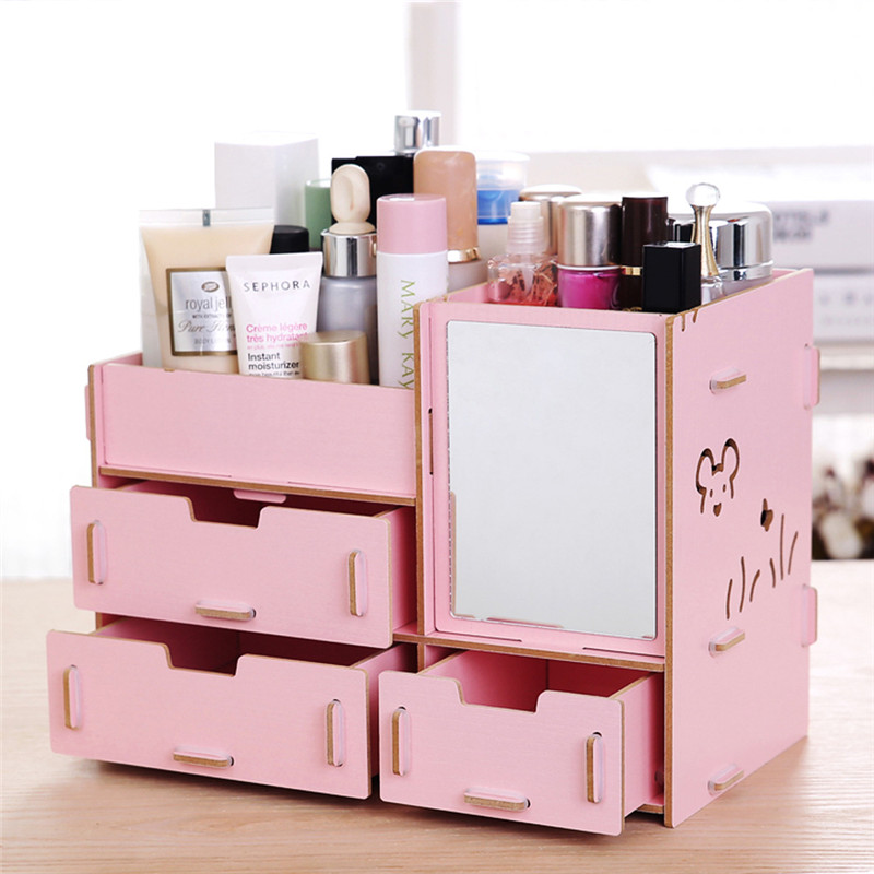 Decorative Cosmetic Wooden Stationery Box Jewelry Container Makeup