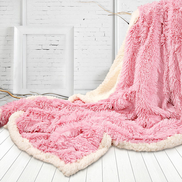 luxus langes haar faux fur decke 130x160 cm winter fluffy warm double face decke in luxus langes. Black Bedroom Furniture Sets. Home Design Ideas