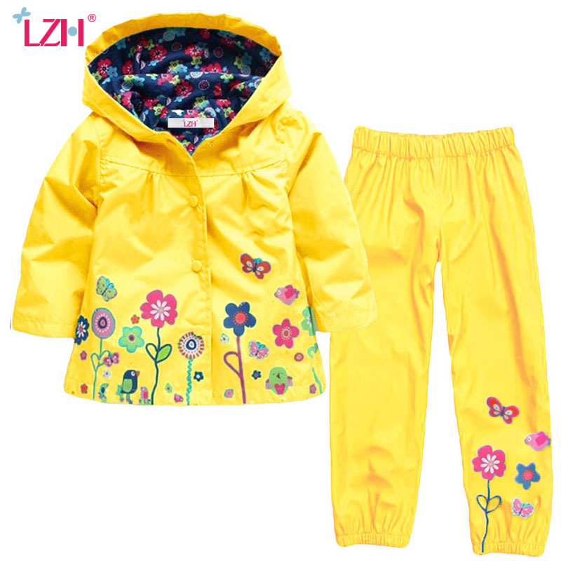 LZH 2017 Autumn Winter Girls Clothes Suit Raincoats Jacket+Pants 2pcs Kids Clothes Boys Sport Suit For Girls Children Clothing retail 2pcs brand new design girls clothing sets for kids autumn tracksuit for girls velvet jacket pants children sport suit