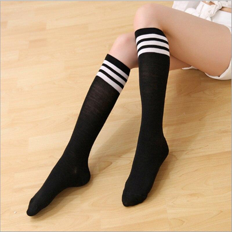 High Elasticity Girl Cotton Knee High Socks Uniform Bicycle Chain Women Tube Socks