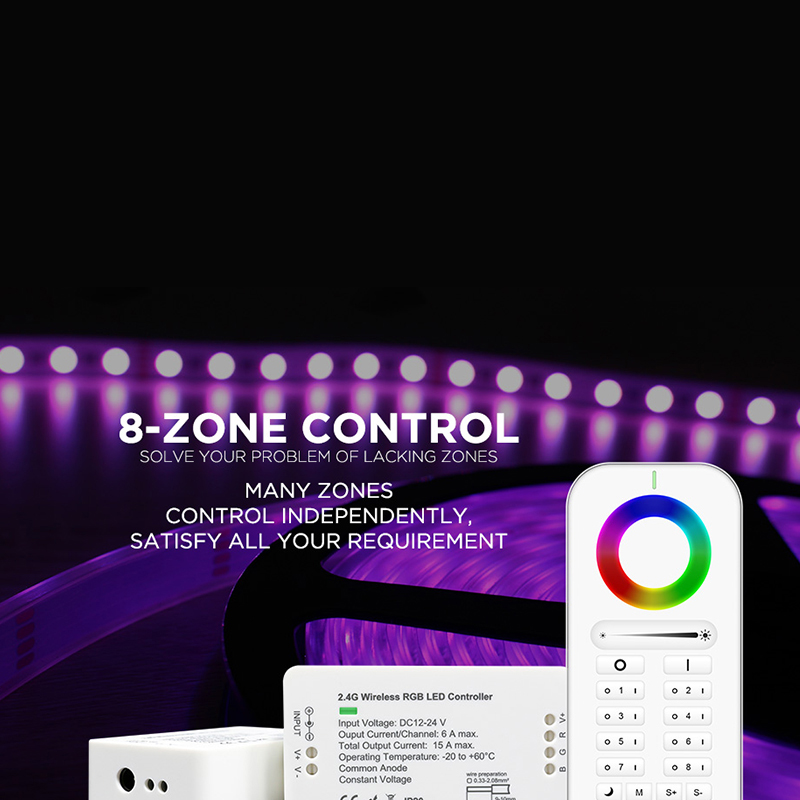Waseda 2.4GHz RF Led Controller Wireless RGB RGBW RGB+CCT Controller DC12/24V led strip controller wifi 8zone remote LED light - 2