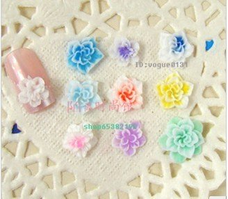 210 pcs/lot Pretty Multicolor 3D polymer clay Flower Acrylic Nail Art Tips Decoration UV Acrylic mix 7 colors nail decorations