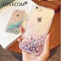 Сердце любви Звезды Блеск Звезды Динамически Жидкостное Плывун Мягкая ТПУ Телефон Обратно Чехол Для iPhone 5 5S SE 6 6 S Plus 7 7 плюс