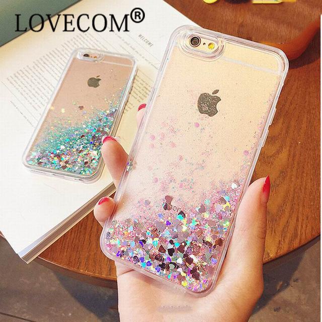 Amore Cuore Stelle Glitter Stars Dinamico Liquid Quicksand Tpu Posteriore Del Telefono Caso della copertura Per il iphone 5 5 S SE 6 6 S Più 7 7 più