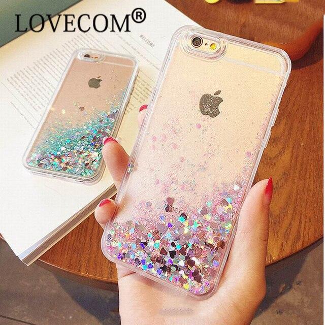 Amore Cuore Stelle Glitter Stars Dinamico Liquid Quicksand Tpu Posteriore Del Telefono caso della copertura per iphone 5 5 s se 6 6 s più 7 7 più