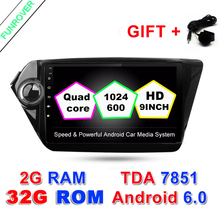 FUNROVER 2G+32G Quad Core 9 inch 1024*600 Android 6.0 Car GPS Navigation for Kia K2 RIO 2 Din Car dvd radio Player Stereo Wifi
