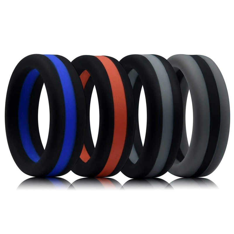Colorful Three Layered Silicone Ring Hypoallergenic Crossfit Flexible Rubber Finger Ring For Men Women Wedding Rings