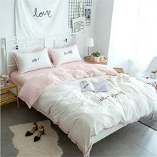 Bedding set 100% Cotton Pink vs Whilt Korean princess style Edredon The fitted sheet Single Nordico  Double Comforber XHS0053