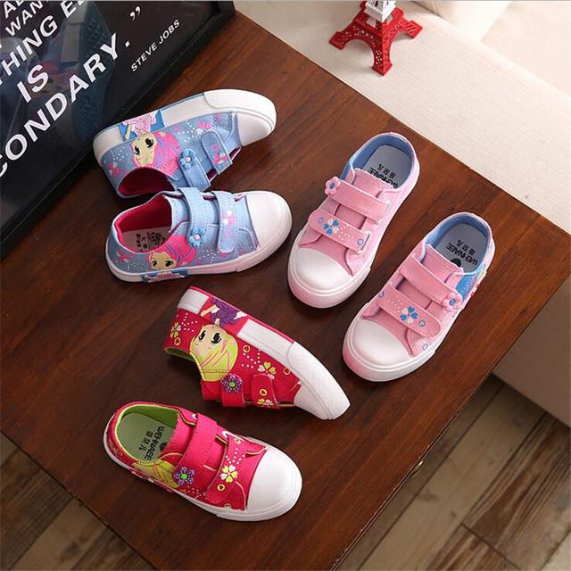 Crianças menina casual shoes meninas lona criança shoes denim único moda sneaker com ninhada padrão menina tamanho 27-38