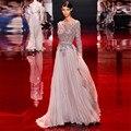 2016 Robe de Festa Sexy Red Carpet Dress Madel T estação Sem Encosto Celebridade Vestido Frisado Festa Formal Vestido de Noite do baile de Finalistas vestidos