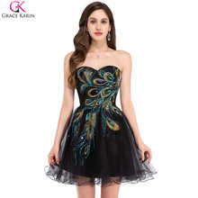 Grace Karin Peacock Cocktail Dresses Tulle Applique Strapless Black Wedding Party Formal Gowns Special Occasion Dress Graduation