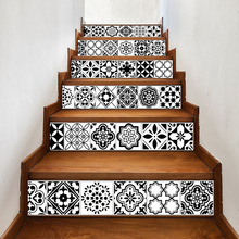 Mosaic Tile Wall Stair Stickers  Peel and Stick Tile Backsplash Stair Riser Decals DIY Waterproof Home Decor Staircase Decal цена 2017