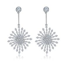 Luxury Tiny Cubic Zircon Crystal Women Dangle Earring Rhombus CZ Stone Drop Jewelry Wedding Party Gift OL style Accessories