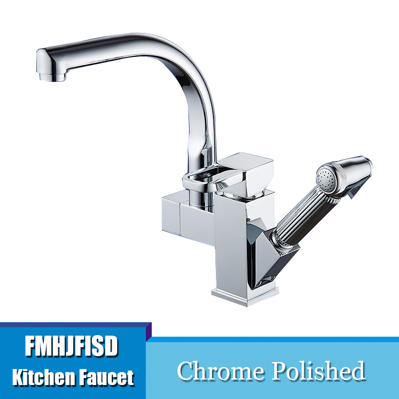 Dropwow Deck Mounted Chrome Brass Kitchen Faucet Pull Out Sprayer
