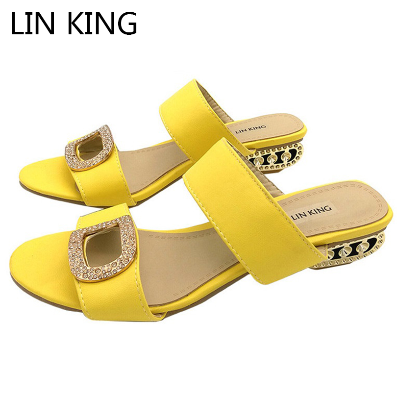 LIN KING Elagant Summer Shoes Women Slippers Sandals Casual Women Flip Flops Fashion Rhinestone Bohemia Slides Shoes Plus Size lin king cute flower women slippers fashion crystal flats summer beach shoes casual woman slides comfortable ladies flip flops