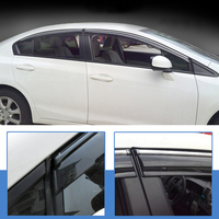 Window Visor Vent Shades Sun Rain Guards Shields 4pcs For Honda Civic 9th Gen 4dr Sedan 2012 2013 2014 2015