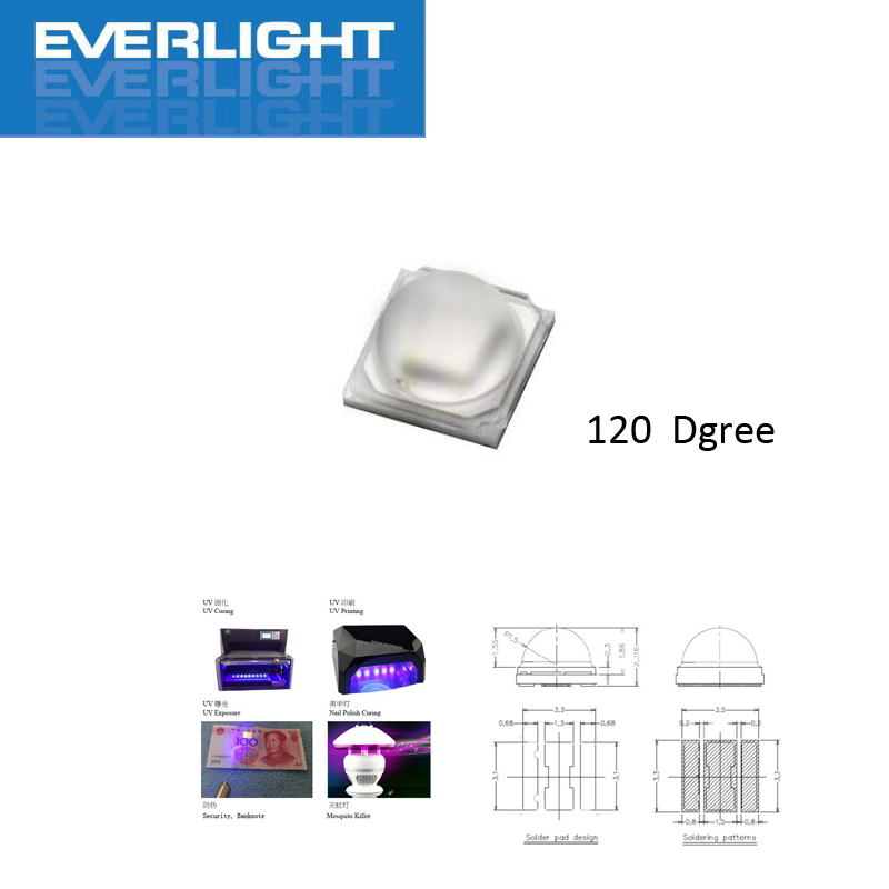 10pcs <font><b>3W</b></font> 395nm 3535 <font><b>UV</b></font> <font><b>LED</b></font>/Ultra Violet High Power <font><b>LED</b></font> Emitter 395-400NM <font><b>3w</b></font> <font><b>UV</b></font> <font><b>LED</b></font> image