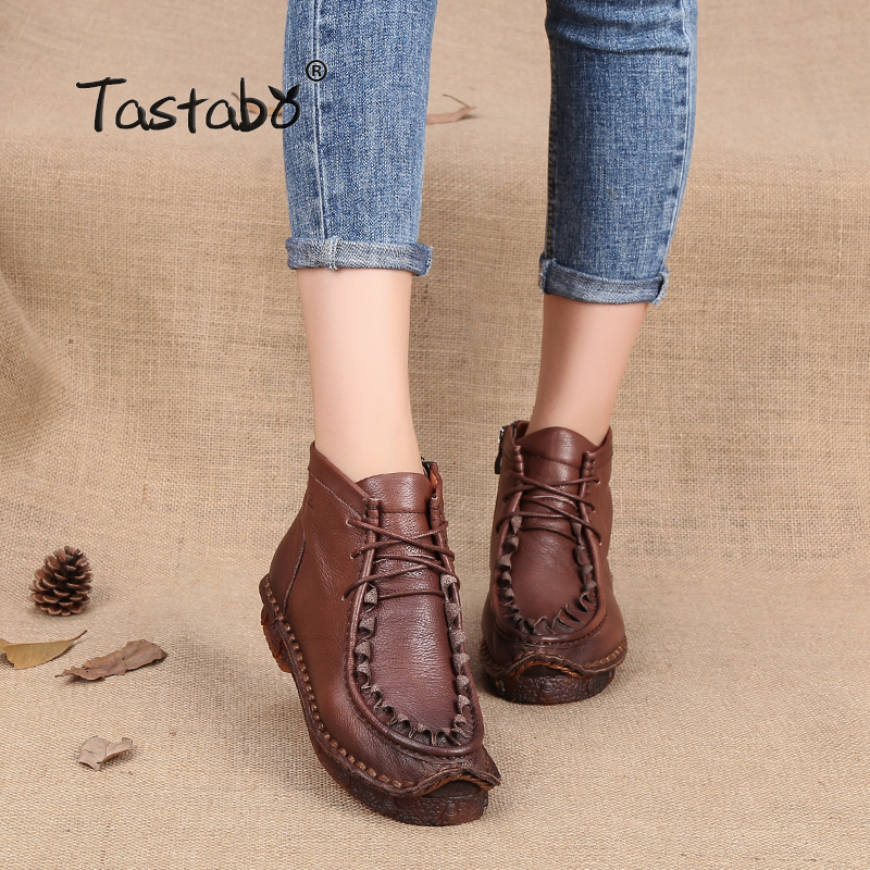 где купить Tastabo Handmade Martin Boots Leather Shoes Chinese Folk Style Retro Soft Flat Boots Plus size 11 Female Warm Velvet Women Shoe по лучшей цене