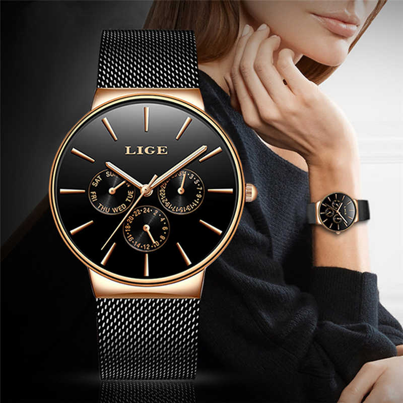 2019 Watches Women Super Slim Mesh Stainless Steel LIGE Top Brand Luxury Casual Quartz Clock Ladies WristWatch Relogio Feminino