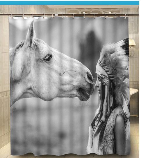 Native American Girl Horse Print Bath Curtain Decors 180x160 CM High Quality Waterproof Shower