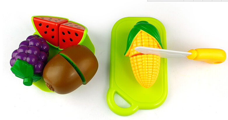 24 Pcs/ Set Plastic Fruit Vegetable Puzzle Kitchen Cutting Toys Cheerful Colorful For Kids