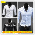 Бесплатная доставка Корейский дизайнер контрастные новое прибытие платье slim fit мужская рубашка этикетки Ml XL XXL QR-1138