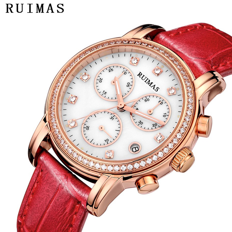 все цены на 2018 New Women Luxury Fashion Watches Ladies Leather Wristwatches Analog Quartz Watch RUIMAS Female Casual Clock Montre Femme онлайн