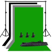 Zuochen photo studio ajustável pano de fundo suporte kit 1.6x3m preto/branco/verde/cinza tela de fundo