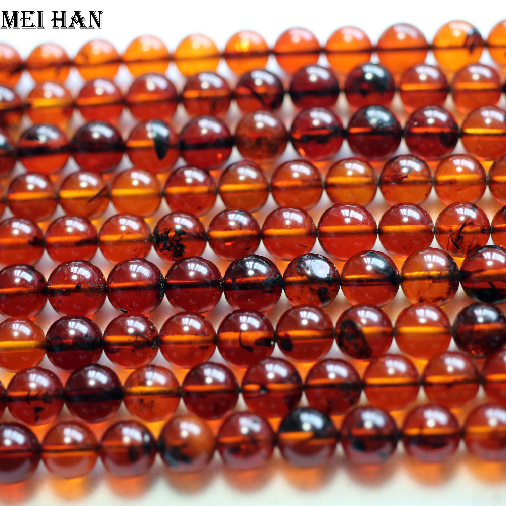 Meihan Free shipping (45 beads/set/11.5g) natural 7.5 8mm The Baltic sea Blood Amber round loose strand beads for jewelry making-in Beads from Jewelry & Accessories    1