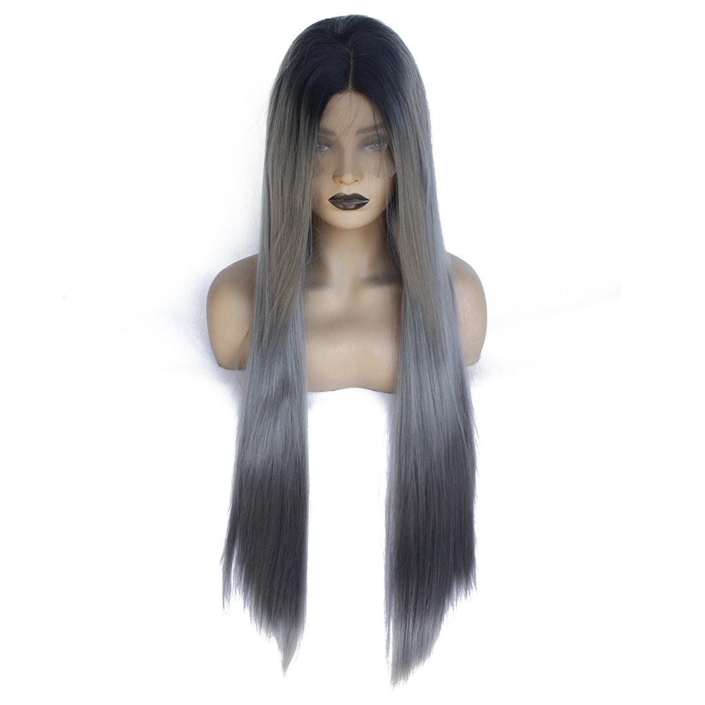 Dark Grey Lace Front Wig Black Roots Ombre Gray Long Natural Straight Wigs Realistic Synthetic Hair