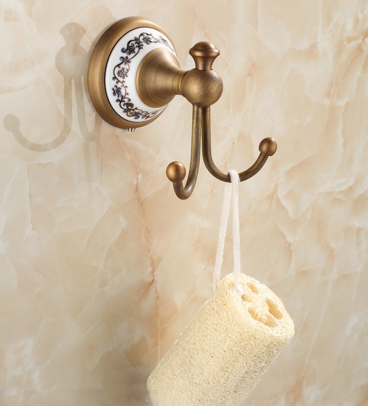 Антикварная фарфоровая латунь Одежда Крюк настенный Аксессуары для ванной комнаты крючки 7001AJP
