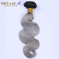 1B/ Grey Ombre Human Hair Weave Bundle Brazilian Body Wave 1 Bundle Extension Dreamme Hair Products Black Roots Remy Hair