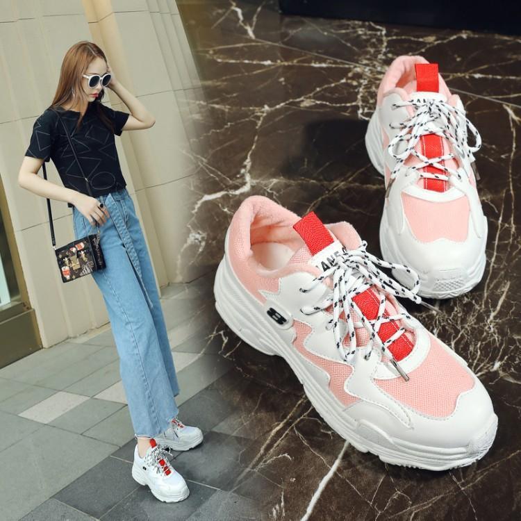 Printemps Épais Coréenne Mode 44 Sneakers 2019 31 Fond 41 30 Nouveau Plates Taille 32 Étudiant rose Simples Noir Décontracté Chaussures Grande blanc S nwkO8PN0X