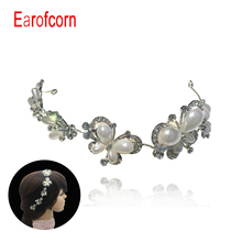 Classical Butterfly Flowers Rhinestone Pearl  Headband  Headdress Silver  Hoop Crown Wedding Tiara Glam Hair Vine  Accessories