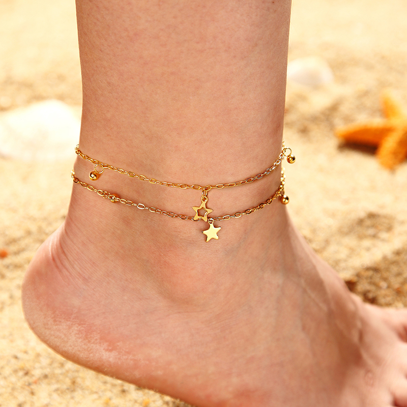 Bohemian star anklet fashion stand chain ankle barefoot anklet bracelet woman summer beach accessories holiday lover gift