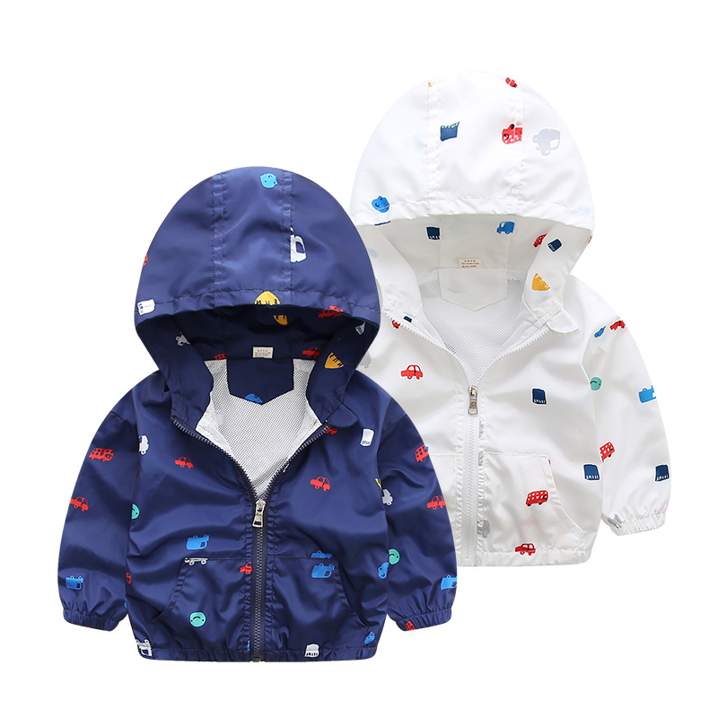 2018 Новые поступления Весна Детские куртки с капюшоном для мальчиков верхняя одежда для детей ветровка с длинными рукавами пальто