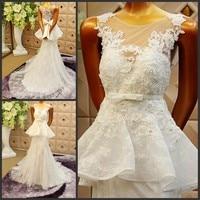 2015 New Romantic Cherry Vestidos De Novias White Wedding Dresses Bride Dress Bridal Gown A