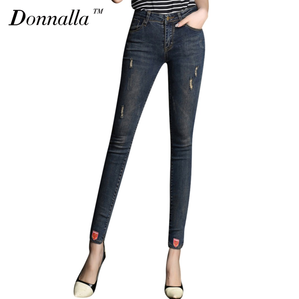 Donnalla Women Jeans Jeans Women Pencil Pants High Waist Jeans Sexy Slim Elastic Skinny Pants Trousers Fit Lady Jeans