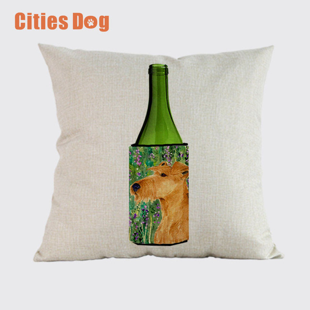 Wedding decoration cushion cover linen animal dog square printed wedding decoration cushion cover linen animal dog square printed pillowcase irish terrier dogs decorative pillows sofa junglespirit Image collections