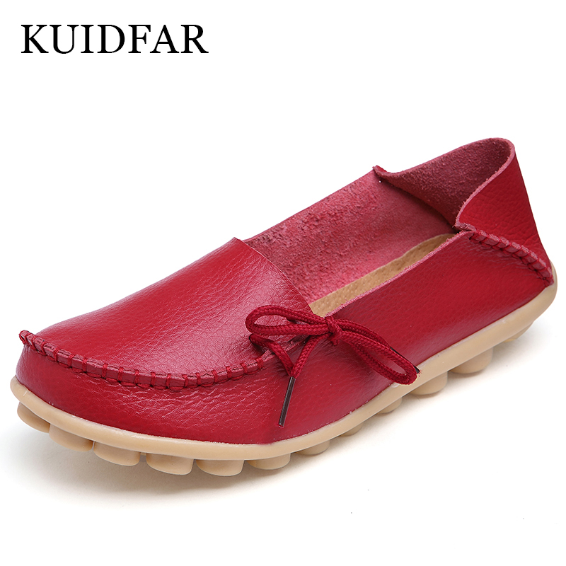 Kuidfar pisos nuevos mujeres Cuero auténtico Zapatos moda casual mocasines planos Zapatos mujeres Mocasines ocio suave 35-44