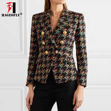 HAGEOFLY High Quality New Design Blazer Women Long Sleeve Woolen Coats Double Gold Buttons Blazers Outer Jacket Coat Female XL - DISCOUNT ITEM  36% OFF All Category