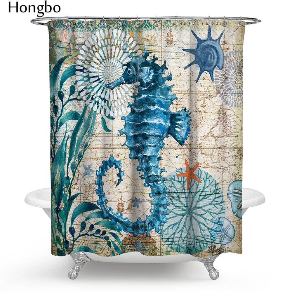 Hongbo 1 Set Marine Polyester Waterproof Shower Curtain Seahorse Turtle 12Pcs Hooks Mildew Resistant Bath Home Bathroom