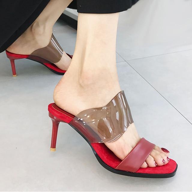 Signore con i tacchi alti sandali vogue pantofole delle donne di Svago PVC  pattini a Cristallo 69941115cea