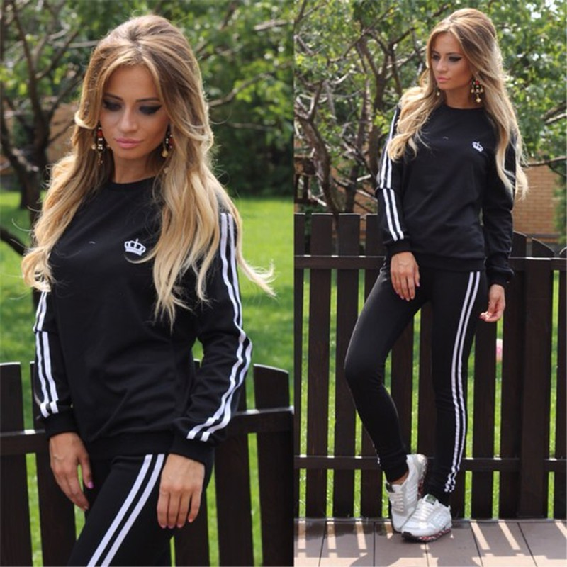 5eafa85705617 woman casaul tracksuit Strip Women s Tracksuit sporting suit Casual  Loungewear for Women Pull Over Tops and Pants O Neck S XL-in Women s Sets  from Women s ...